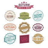 Grupo de etiquetas relativas vendas do vintage do outono Fotografia de Stock