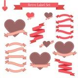 Grupo de etiquetas retros, de fitas, de bandeiras e de etiquetas Foto de Stock Royalty Free