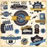 Grupo de etiquetas retros do carro do vintage ilustração do vetor