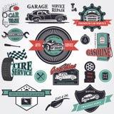 Grupo de etiquetas retros do carro do vintage ilustração stock