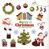 Grupo de etiquetas Santa Claus do Natal, de boneco de neve, de árvore e de presentes ilustração stock