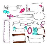 Grupo de etiquetas sem texto para o cartão e os presentes St Dia do ` s do Valentim Arte do marcador com corações ilustração royalty free