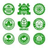 Grupo de etiquetas verde do alimento biológico Vetor Foto de Stock Royalty Free