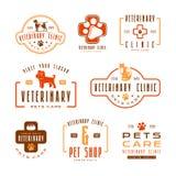 Grupo de etiquetas veterinárias da clínica Imagem de Stock Royalty Free