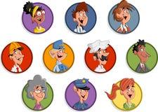 Grupo de executivos das faces dos desenhos animados Fotos de Stock