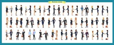 Grupo de executivos e de situações Apresentação, acordo, um aperto de mão, trabalhos de equipa ilustração royalty free