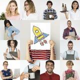 Grupo de executivos pequenos Startup da colagem do estúdio da diversidade Fotos de Stock Royalty Free
