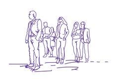 Grupo de executivos que andam, fundo do branco de Team Of Office Workers On dos empresários da garatuja ilustração royalty free