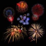 grupo de exposição colorido bonito do fogo de artifício para o ne feliz da celebração foto de stock royalty free