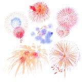 grupo de exposição colorido bonito do fogo de artifício para o ne feliz da celebração fotografia de stock