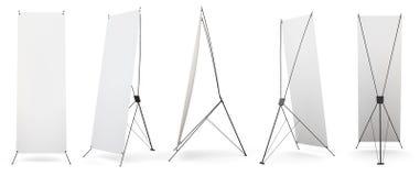 Grupo de exposição dos x-suportes da bandeira no fundo branco 3d Imagens de Stock