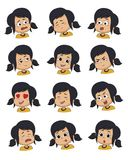 Grupo de expressão da cara da menina, ilustrações do vetor isoladas ilustração stock