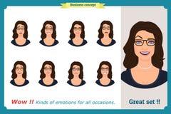 Grupo de expressão da mulher isolado Cabeça fêmea emocional bonito Mulher de negócios ilustração royalty free