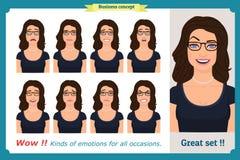 Grupo de expressão da mulher isolado Cabeça fêmea emocional bonito Mulher de negócios ilustração do vetor