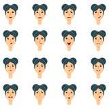 Grupo de expressão da mulher moreno Imagem de Stock