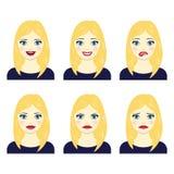 Grupo de expressões faciais da menina ilustração do vetor