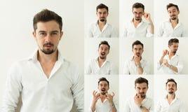 Grupo de expressões farpadas do homem no fundo cinzento Homem novo com expressões múltiplas da cara Imagens de Stock