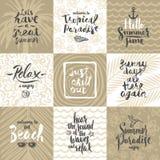 Grupo de férias de verão e cartazes ou cartão tropical das férias Imagens de Stock Royalty Free