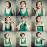 Grupo de fêmea com expressões imagens de stock