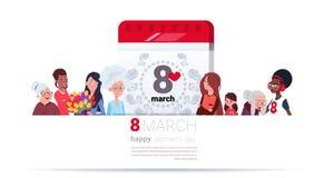 Grupo de fêmea diferente sobre a página do calendário com fundo internacional feliz do dia das mulheres da data do 8 de março ilustração royalty free