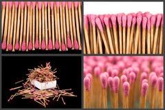 Grupo de fósforos inteiros e queimados em fases diferentes Imagens de Stock Royalty Free