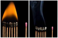 Grupo de fósforos inteiros e queimados em fases diferentes Foto de Stock Royalty Free