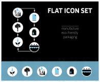 Grupo de fabricação do ícone no fundo preto e azul ilustração stock