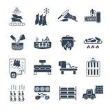 Grupo de fabricação preta dos ícones de produção dos produtos de carne ilustração stock