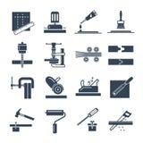 Grupo de fabricação preta dos ícones de produtos da produção de madeira ilustração do vetor