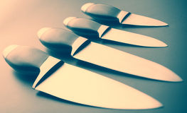 Grupo de facas de cozinha Fotos de Stock Royalty Free
