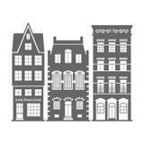 Grupo de 3 fachadas velhas das casas da Holanda da forma ilustração royalty free