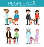 Grupo de família feliz, de nacionalidades diferentes e de estilos do vestido, conceito dos desenhos animados do caráter dos povos Fotos de Stock
