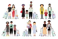 Grupo de famílias e de pares de viagem Povos elegantes diferentes com bagagem, crianças Coleção colorida do vetor ilustração stock