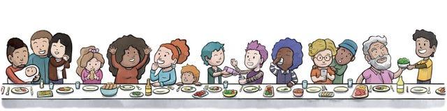 Grupo de familia y de amigos que comen en un fondo grande del blanco de la mesa de comedor ilustración del vector