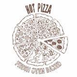 Grupo de fatias de pizza diferentes no vetor Alimento do desenho da mão Fotografia de Stock