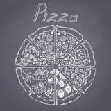 Grupo de fatias de pizza diferentes no vetor Ilustração do estilo do giz no quadro Fotografia de Stock Royalty Free