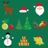 Grupo de Feliz Natal do inverno e vetores e ícones do feriado Imagens de Stock Royalty Free