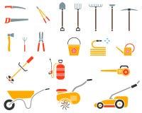 Grupo de ferramenta de jardim Ícone da ferramenta de jardim Fotografia de Stock Royalty Free