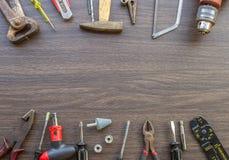 Grupo de ferramentas, caixa de ferramentas para a construção, eletrônico, construindo, c Fotografia de Stock Royalty Free