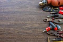 Grupo de ferramentas, caixa de ferramentas para a construção, eletrônico, construindo, c Imagem de Stock
