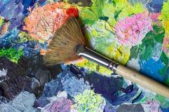 Grupo de ferramentas da arte: escova de pintura do fã Fotos de Stock Royalty Free