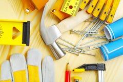Grupo de ferramentas da carpintaria fotografia de stock royalty free