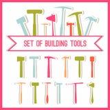Grupo de ferramentas da construção Ícones das ferramentas das construções ajustados Símbolos lisos do projeto Ferramentas da cons Foto de Stock