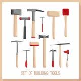 Grupo de ferramentas da construção Ícones das ferramentas das construções ajustados Símbolos lisos do projeto Ferramentas da cons Fotografia de Stock Royalty Free