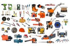Grupo de ferramentas da construção e de jardim isoladas no fundo branco Fotografia de Stock Royalty Free