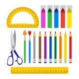 Grupo de ferramentas da escola sobre o branco Imagem de Stock Royalty Free