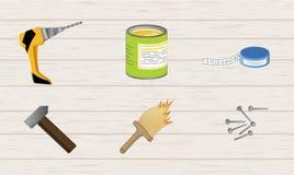 Grupo de ferramentas de funcionamento do reparo e da construção do desenho a mão livre Foto de Stock Royalty Free
