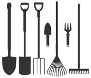 Grupo de ferramentas de jardim: pá, ancinhos, forcados, pás Vetor mim Imagens de Stock Royalty Free