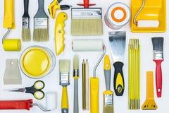 Grupo de ferramentas diferentes da pintura para a renovação da casa Configuração lisa Fotografia de Stock