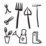 Grupo de ferramentas do jardim, ilustração dos ícones do vetor Fotografia de Stock Royalty Free